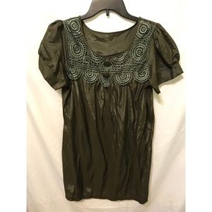 Tops - Olive Green Tunic w/ Lace